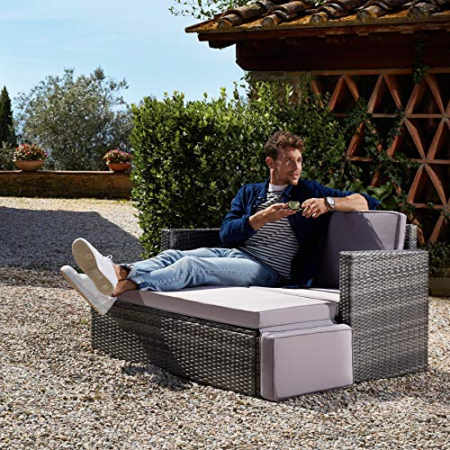TecTake 800693 Poly Rattan Lounge Set, 2 Sitzer Sofa mit Hocker, Ottomane, inkl. Dicke Auflagen – Diverse Farben (Grau | Nr. 403125) - 2