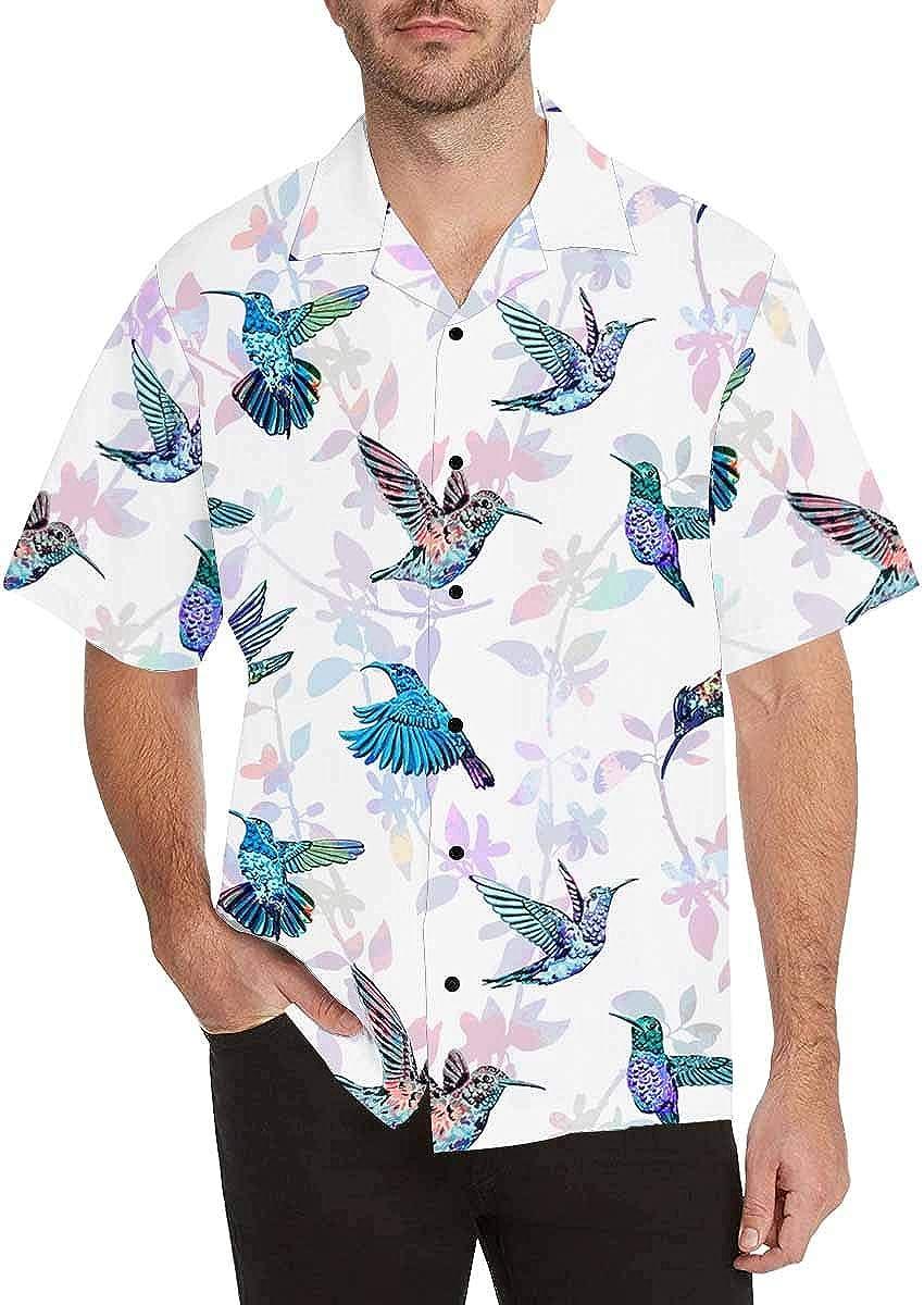 InterestPrint Men's Casual Button Down Short Sleeve Poppy Flower Bird Hawaiian Shirt (S-5XL)