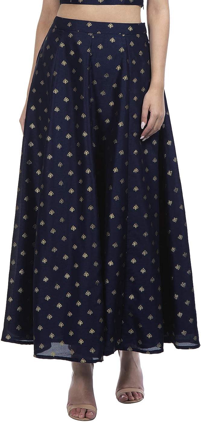 Indya Navy Foil Maxi Skirt