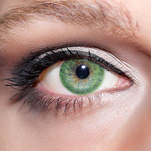 KwikSibs farbige Kontaktlinsen, grün, 1-farbig, weich, inklusive Behälter, BC 8.6 mm / DIA 14.0 / -3,50 Dioptrien, 1er Pack (1 x 2 Stück)