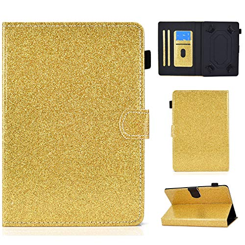 Ancase Tablet Case for Universal 9.5-10.5 Inch Leather Design Case Samsung Huawei Apple Lenovo Tablet 9.6 9.7 10.1 inch Protective Cover with Card Slots - Golden