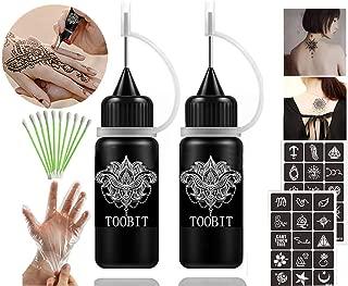 TOOBIT Temporary Tattoo Kit- Jagua Tattoo Gel 2 Bottles Black (1 oz)Semi Permanent Tattoo Natural and Lasting,Free 30 Tattoos Stencils 10 Cotton Swabs & 1 Pair of Disposable Gloves