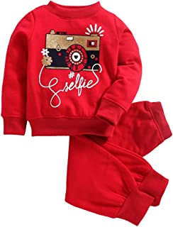 Hopscotch Peaches Girls Polyester Tracksuit with Camera Print Sweatshirt in Majenta Color
