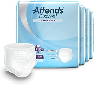 Attends Discreet Incontinence Care Day/Night Extended Wear Protective Underwear with DermaDry Technology for Adults, X-Lar...