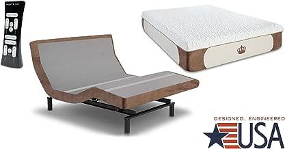 DynastyMattress 14-Inch CoolBreeze Gel Memory Foam Mattress with S-Cape Adjustable Beds Set Sleep System Leggett & Platt (Queen W/Setup, Grey)