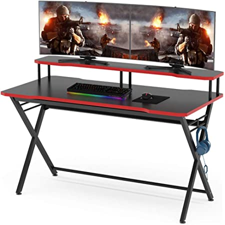 """Computer Desk with Monitor Stand 55/"""" Large Modern Office Desk Gaming Table USA"""