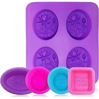 AFUNTA Molde de silicona para jabón, 5 piezas de silicona para hacer jabón, antiadherente, para magdalenas, magdalenas, magdalenas, molde para hacer manualidades