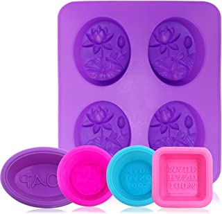 AFUNTA 8 Cavity Silicone Dragonfly Shape Soap Molds (5 Pcs), Non-Stick DIY Soap Making Supplies Handmade Cupcake Muffin Baking Pan, Biscuit Chocolate Mold, Ice Cube Tray -Square, Round, Oval
