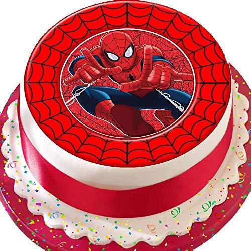 Kuchendekoration Spiderman mit rotem Webrand zum Geburtstag, vorgeschnitten, essbar