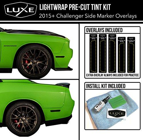 Luxe Auto Concepts 2015-20 Dodge Challenger Side Marker Tint Kit | Exact Cut Dark Smoke Vinyl Overlays for '15-'20 Dodge Challenger Sidemarker | Tinted Dry Application LightWrap Film…