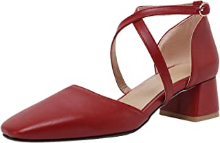 HapyLady Dames Block Medium Hiel Sandalenen Cross Strap Medium Hiel Zomer SHoes Gesp Red size 36 Asian