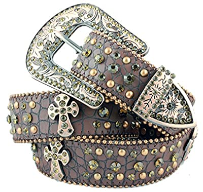 Deal Fashionista BROWN Western Rhinestone Cowgirl CROSS Bling Studded Removable Buckle Belt