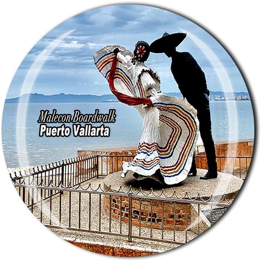 Malecon Boardwalk Puerto Vallarta Mexico 3D Refrigerator Magnet Crystal Style Souvenir Fridge Magnet Home Kitchen Decor Gift Collection