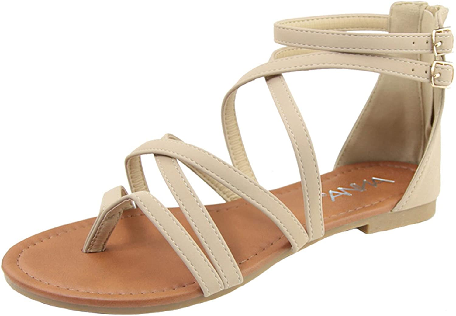 Anna shoes Women's Strappy Buckle Accent Zip Heel Flat Sandal
