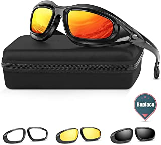 BELINOUS Safety Glasses, Polarized Motorcycle Riding Glasses Goggles Sunglasses Accessory for Men Women, 4 in 1 Copper Smoke Clear Yellow Lenses, Black Frame, Cycling Driving Hunting Fishing Shooting