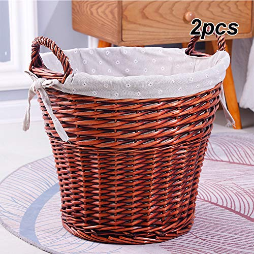 ZYQDRZ Wicker Storage Basket, Pure Natural Lined With 2 Small Round Wicker Woven Baskets, Used To Organize Sundries,Brown