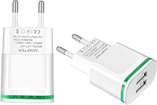 Europe Wall Charger, 2Pack 2.1A 5V Universal LED Dual USB European Travel Charger Power Adapter Charging Plug for iPhone 7/6/5S,Ipad, Samsung Galaxy S8 Plus S7/S6 Edge, LG, More Cellphone (White)
