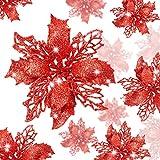 WILLBOND 36 Piezas de Flores de Pascua de Brillo de Navidad Flores Artificial Decoración de Brillo de Boda Árbol de Navidad Año Nuevo(Rojo, Estilo Hueco de Brillo)