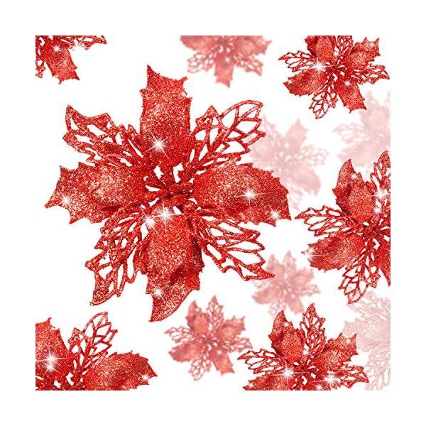 WILLBOND 36 Piezas de Flores de Pascua de Brillo de Navidad Flores Artificial Decoración de Brillo de Boda Árbol de…