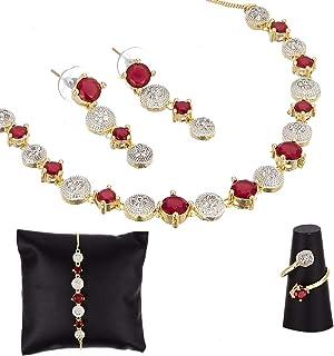 5ec259b89 Zeneme American Diamond Traditional Fashion Jewellerry Combo of Necklace  Pendant Set/Ring/Bracelet with