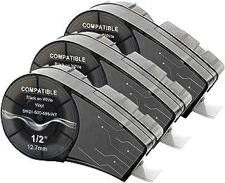 Aken Ruban compatible pour Vinyle Ruban M21-500-595-WT Noir sur blanc, 12,7mm Largeur 6,4m Longueur, Paquet de 3