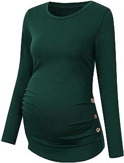 Fartido Camisa de Maternidad con Botones Laterales y Fruncidos para Embarazo, Camisa de Manga Larga