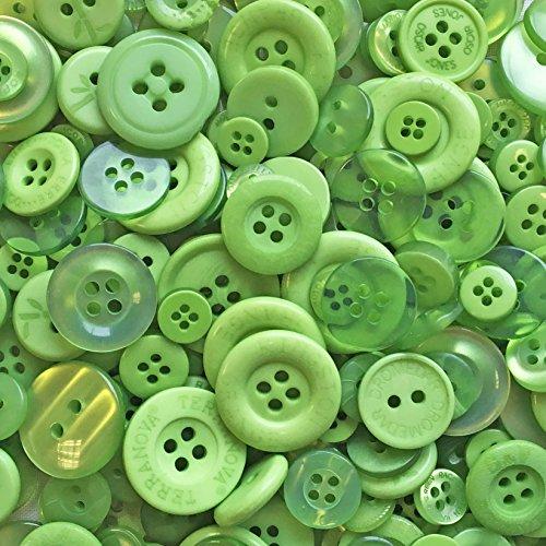 Sachet de 100 g de boutons verts en acrylique et résine, pour les loisirs créatifs