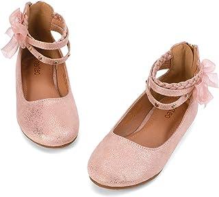 nerteo Girl's Princess Dress Shoes Ankle Strap Glitter...