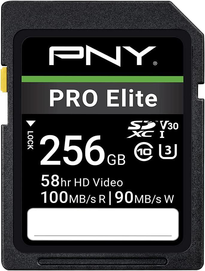 PNY 256GB PRO Elite Class 10 U3 V30 SDXC Flash Memory Card - 100MB/s, Class 10, U3, V30, 4K UHD, Full HD, UHS-I, Full Size SD