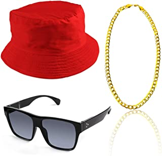 80s/90s Hip Hop Costume Kit Cool Rapper Outfits,Bucket Hat Sunglasses Gold Plated Chain