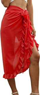 FaroDor Womens High Waist Ruffles Split Bohemian Beach Midi Skirt Swimwear Bikini Cover-ups