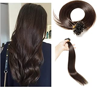 U Tip Human Hair Extensions Pre Bonded Nail Tipped Real Human Hair Piece Italian Keratin U Tip Fusion Extensions Silky Straight 100 Strands 24