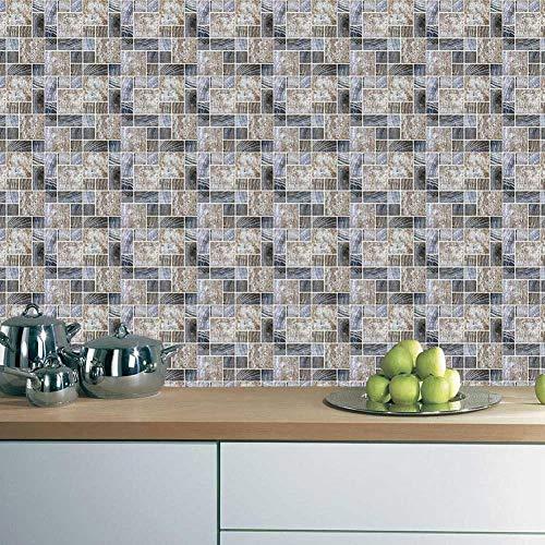 Acmxk Azulejos Adhesivos para Sala de Estar Dormitorio Cocina Baño, Mosaico DIY Papel Pintado, Impermeable Protector contra Salpicaduras 6 Piezas/Juego