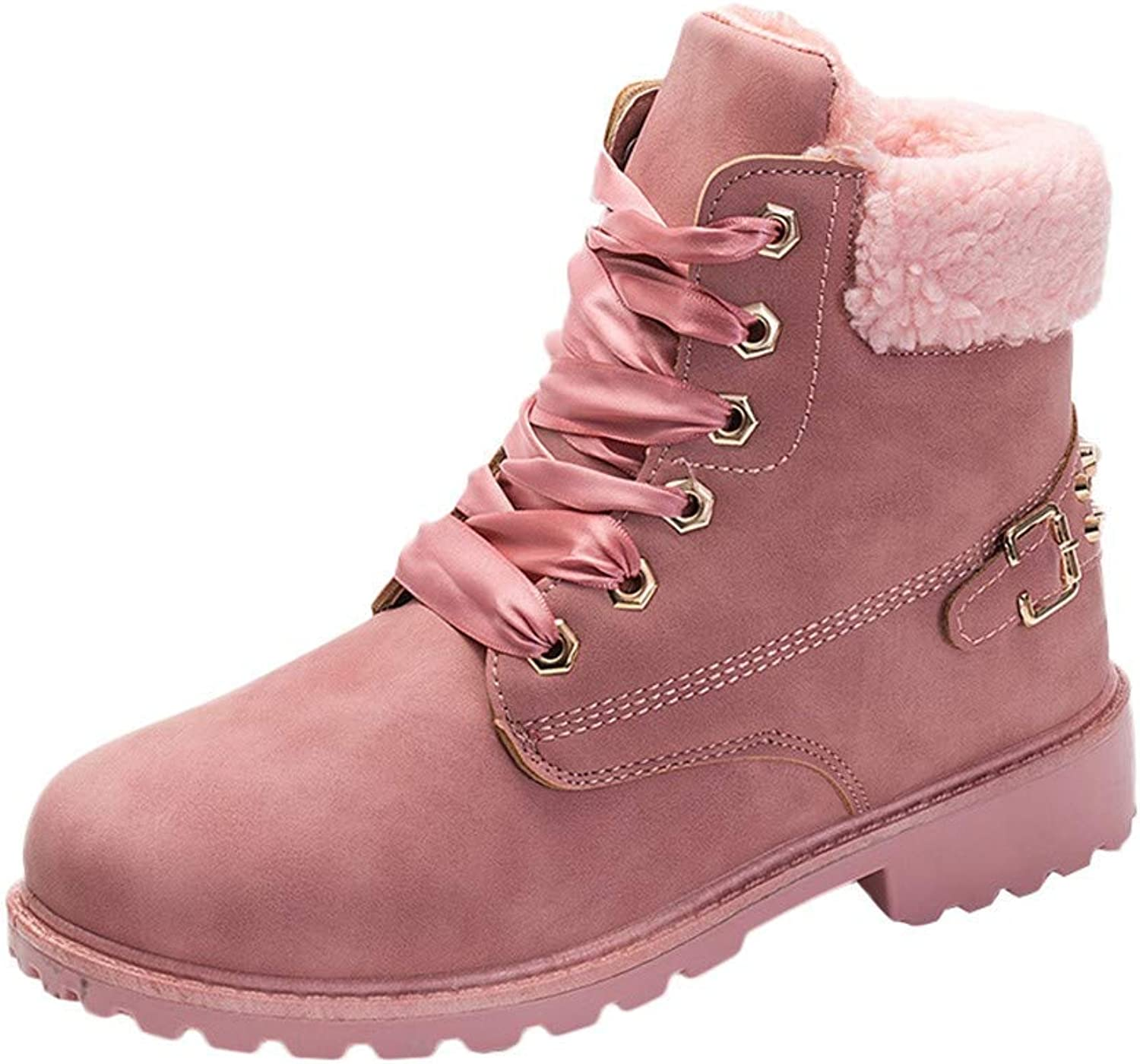 JaHGDU Women Solid Lace Up Boots Casual Ankle Boots Round Toe shoes Winter Snow Boots color Pink PU Leather for Womens