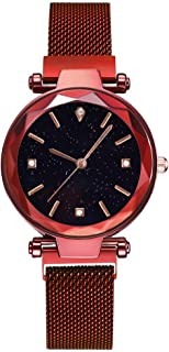 Ladies Fashion Wrist Watch RMM Women's Casual Starry Sky Dial Quartz Star Dial Watch with Magnetic mesh Belt