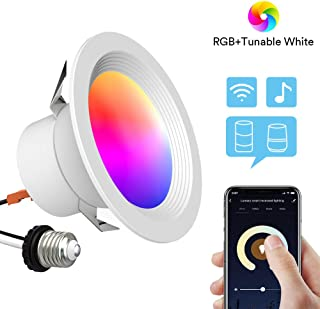 Smart Recessed Lighting - Lumary 4 inch WiFi Led Downlight Color Changing Can Light Music Sync 9W(65W Equivalent) 810lm Compatible with Alexa Google Assistant No Hub Required (WiFi 4in)