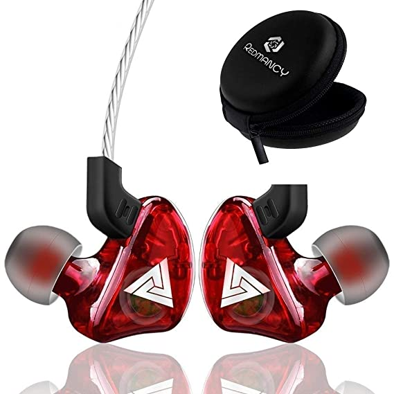 REDAMANCY Wired in-Ear Earphones with Mic Super Bass Stereo Sound with Carry Pouch for All Smartphones (Red)