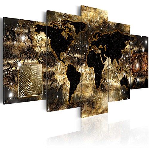 murando Quadro 200x100 cm 5 pezzi Stampa su tela in TNT XXL Immagini moderni Murale Fotografia Grafica Decorazione da parete cittamappa del mondo nero oro marrone k-A-0008-b-n