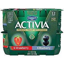 Dannon Activia Lowfat Yogurt, Strawberry & Blueberry Variety Pack, 4 Ounce (Pack of 12) Lowfat Probi