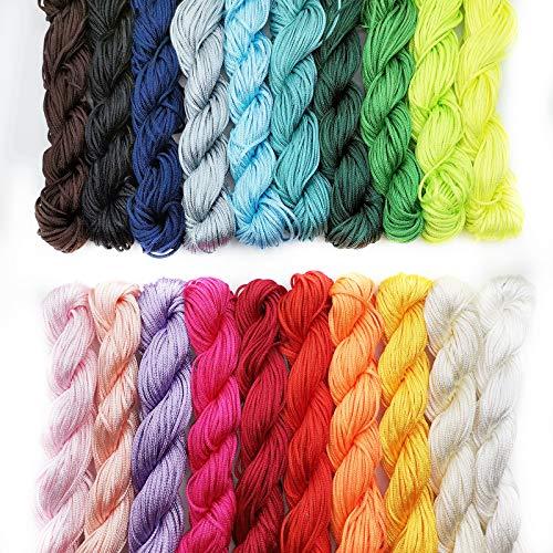 20 Piezas Cordón de Nylon 1mm, 25 metros cada paquete de hilo de nylon, para collar trenzado, pulsera, cuentas, accesorios para hacer joyas, 20 colores