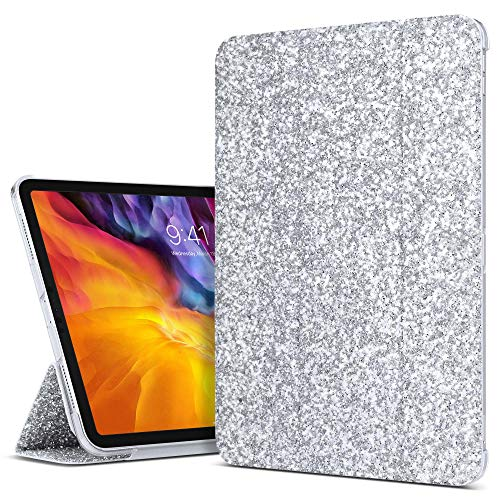 ULAK Case for iPad Pro 11 Inch 2020/2018, Slim Lightweight Trifold Stand Smart Cover with Auto Wake/Sleep, Hard Back Designed Cover for iPad Pro 11 (Support 2nd Gen iPad Pencil Charging) (Bling)