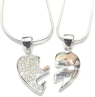 DARSHRAJ 925 sterling silver heart shape pendent with chain for couples & Friends