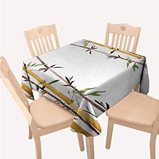 All of better Bamboo tablecloths Party Decorations Bamboo Grove Calm Your Mind Slow Down Zen Relax Hand Drawn Style ArtworkCream Brown White Square Tablecloth W70 xL70 inch