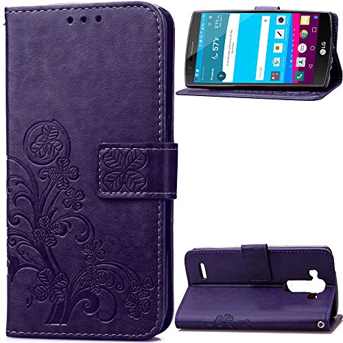 Hülle für LG G4 Hülle Handyhülle [Standfunktion] [Kartenfach] Schutzhülle lederhülle klapphülle für LG G4 (H815) - DESD051132 Violett