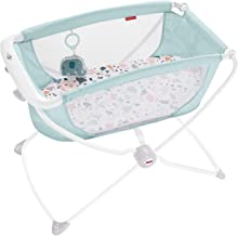 Fisher-Price Rock with Me Bassinet - Pacific Pebble, Portable Bassinet with Rocking Motion and Soothing Features for Newbo...