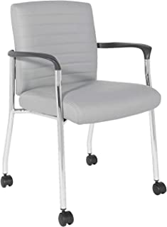 Office Star Faux Leather Guest Chair with Chrome Frame, Grey