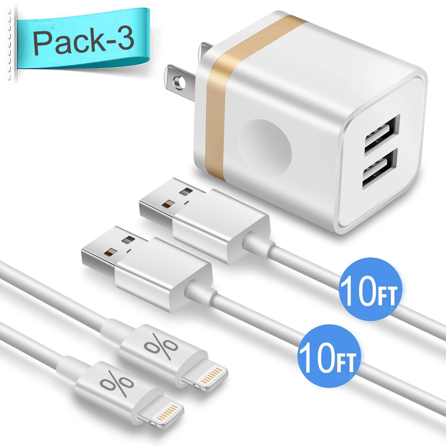 ETL Listed WELAKER Data Sync Transfer Lightning Cable 2Pack 6ft with Dual Port Wall Charger Adapter Charging Block Power Plug Compatible with iPhone Xs MAX//XR//X//8//7//Plus//6S//6//SE//iPad iPhone Charger