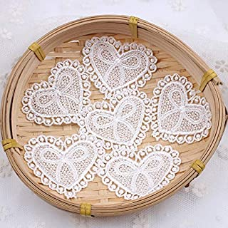 Lace Fabric -10pcs/lot Lace Fabric Accessoy White Heart lace Appliques for Clothing Trimming
