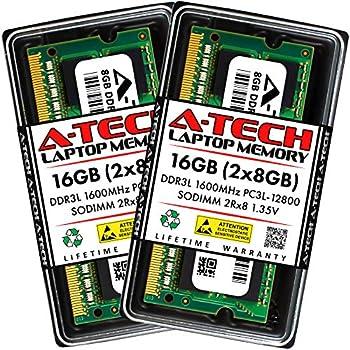 A-Tech 16GB  2x8GB  DDR3 / DDR3L 1600MHz SODIMM PC3L-12800 / PC3-12800  PC3L-12800S  CL11 2Rx8 1.35V Non-ECC SO-DIMM 204 Pin - Laptop Notebook & AIO Computer RAM Memory Upgrade Kit