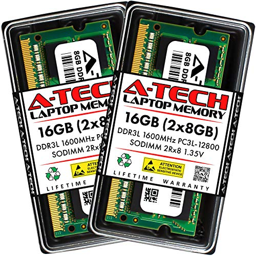 A-Tech 16GB (2x8GB) DDR3 / DDR3L 1600MHz SODIMM PC3L-12800 / PC3-12800 (PC3L-12800S) CL11 2Rx8 1.35V Non-ECC SO-DIMM 204 Pin - Laptop, Notebook & AIO Computer RAM Memory Upgrade Kit